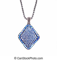 pendant blue with crystals on a white background