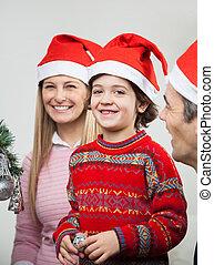 pendant, chapeaux, santa, noël famille