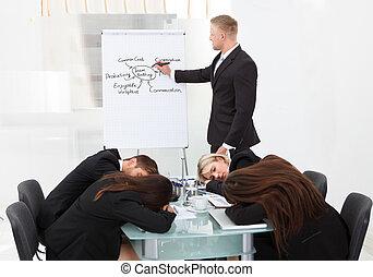pendant, collègues, présentation, dormir