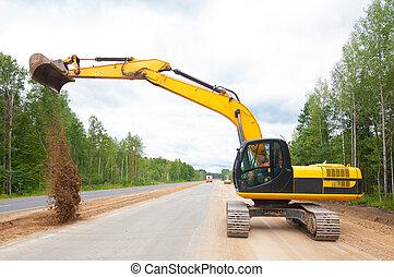 pendant, construction, excavateur, route