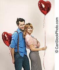 pendant, couple, aimer, jour, valentine