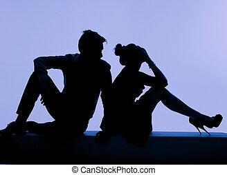 pendant, couple, jeune, baston