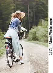 pendant, cyclisme femme, portrait