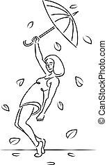 pendant, feuille, jeune, parapluie, fall., beau, girl, femme