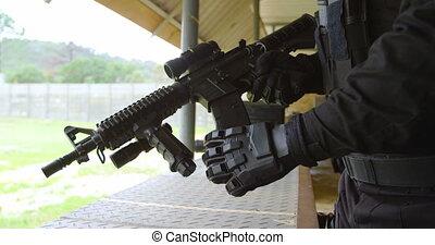 pendant, fusil, section, jeune, militaire, mi, formation, ...