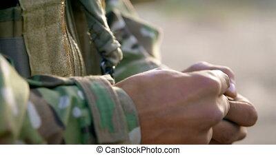 pendant, fusil, section, mi, militaire, formation, tenue, 4k...