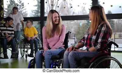 pendant, gai, handicapé, communication, gens