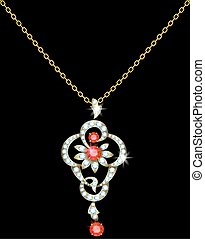 Pendant - Gold pendant with diamonds and rubies on a chain