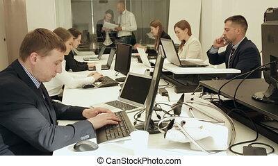 pendant, groupe, co-working, quotidiennement, professionnels, travail, moderne, espace