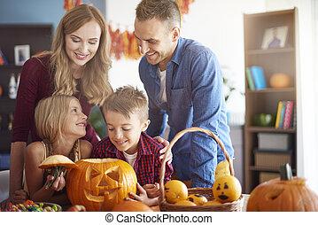 pendant, halloween, temps famille