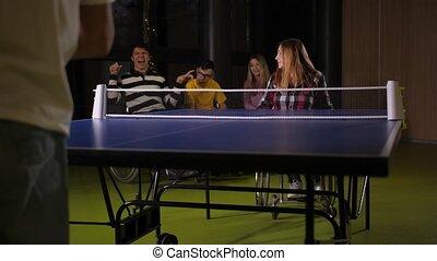 pendant, handicapé, ping-pong, jeu, joueurs