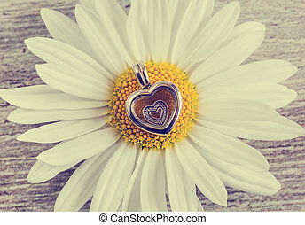 Pendant - heart and chamomile flower