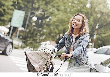 pendant, heureux, cyclisme, temps