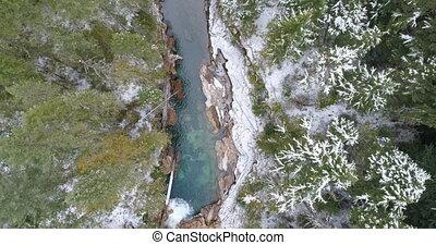 pendant, hiver, par, rivière, forêt, écoulement, 4k