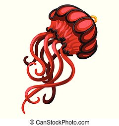Pendant in the form of a red jellyfish isolated on a white background. Fashion accessories. Vector cartoon close-up illustration.