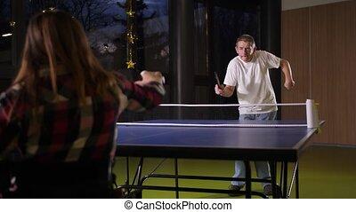 pendant, incapacités, ping-pong, jeu, gens