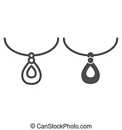 Pendant line and glyph icon. Necklace accessory vector illustration isolated on white. Jewelry outline style design, designed for web and app. Eps 10