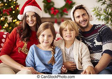 pendant, noël, portrait famille