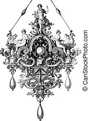 Pendant of Benvenuto Cellini vintage engraving - Old...