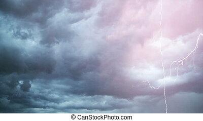 pendant, orage, lot, éclair