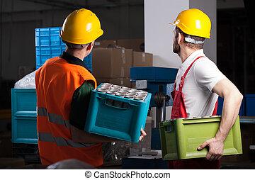 pendant, ouvriers, travail, usine