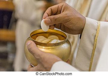 pendant, pain, saint, communion