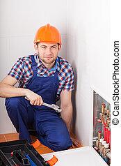 pendant, plombier, valves, réparation