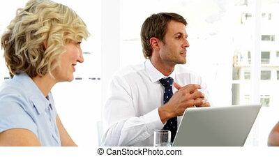 pendant, réunion, bavarder, professionnels