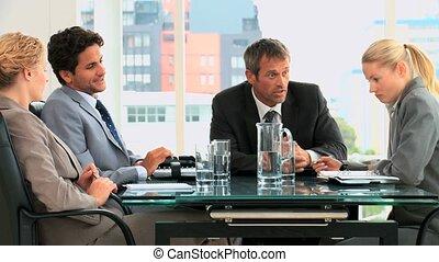 pendant, réunion, professionnels