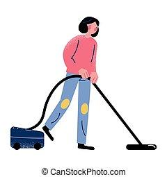 pendant, rester, moquette, femme, quarantaine, nettoyer aspirateur, pandémie, coronavirus, maison