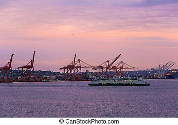 pendant, seattle, coucher soleil, port