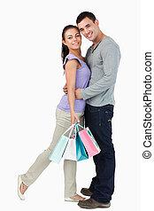 pendant, sien, étreindre, achats, mâle, petite amie, tour, jeune