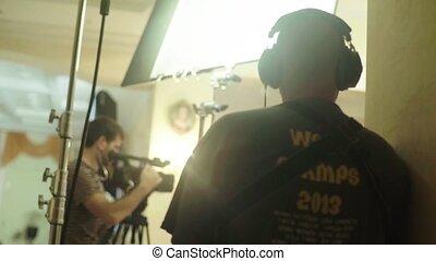 pendant, son, filmmaking., shooting., ensemble, filming., film, enregistrement