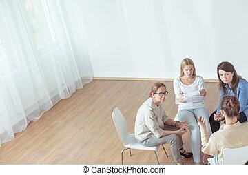 pendant, soutien, séance, groupe, psychotherapeutic