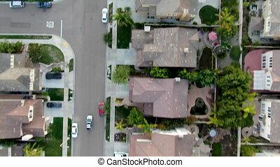 pendant, subdivision, résidentiel, vue dessus, coucher soleil, moderne, aérien
