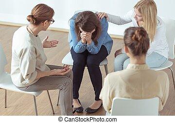 pendant, thérapie, pleurer, groupe