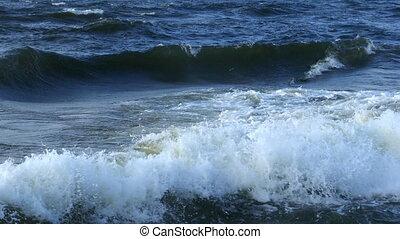 pendant, vagues, mer, orage, grand