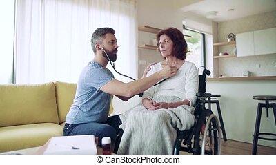 pendant, visit., visiteur, femme aînée, santé, lent,...