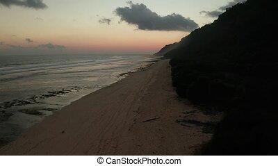 pendant, vue, plage, beau, coucher soleil, aérien