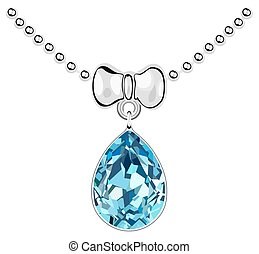 Pendant with a blue diamond on a silver chain