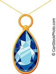 Pendant with a diamond icon, cartoon style