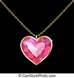 Pendant with a stone in the form of heart on a chain
