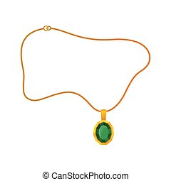 Pendant with emerald on a gold chain. Vector illustration.