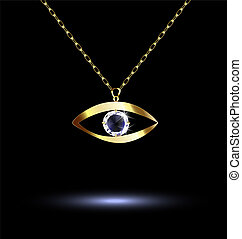 dark background and jewelry chains and eye-shaped pendant