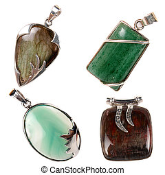 Pendants - A set of silver pendants having green jade, green...