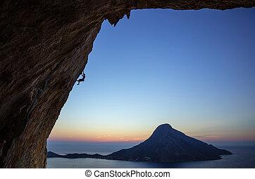 pendendo, penhasco, pôr do sol, escalador, rocha