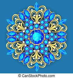 pendente, precioso, vitoriano, elemento, jewelry., brooch, stones., desenho, filigrana, ilustração