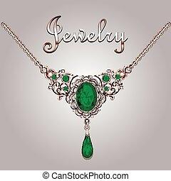 pendentif, collier, à, pierres précieuses, et, filigrane,...