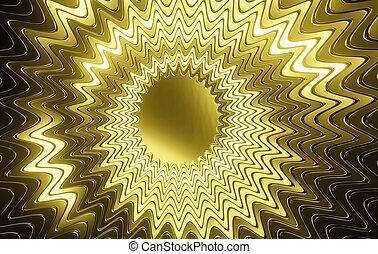 pendentif, doré, -, 3d, résumé, lustré, rendre, multi-layered