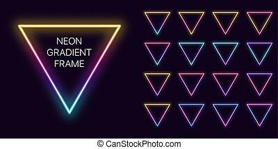 pendenza, cornice, set, triangolare, bordo, copia, neon, space., mascherine, triangolo